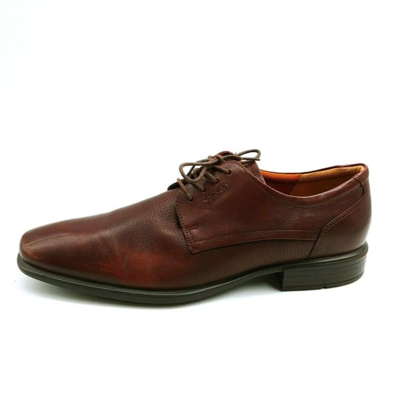 Ecco Mens Lace Up Dress Shoe Brown Leather NEW
